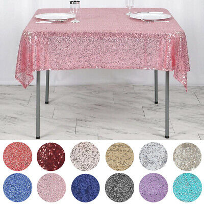 """Sequined 54x54"""" SQUARE TABLECLOTH Designer Wedding Party Event Catering Linen"""