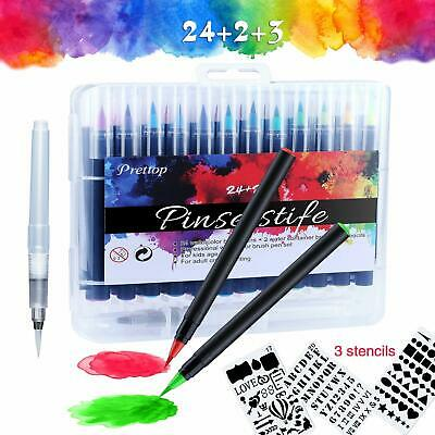 6Pcs//Set Water Color Brush Refillable Pen Watercolor Color Drawing Art AccessoWR