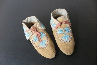 Beaded Moccasins antique Childs moccasins with wear