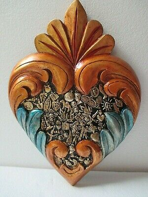 Mexican Folk Art Carved Wood Wall Flame Heart Milagro Prayer Charm Ex Voto 13""