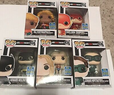 Funko POP Television The Big Bang Theory SDCC 2019 Complete Set Of 5 Superheroes