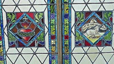 Church Antique Victorian Gothic Stained Glass window Lamb of God & Sacred Heart