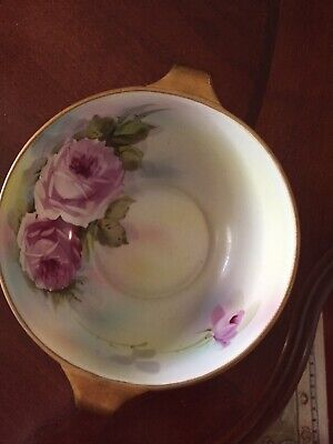 NORITAKE Moriage Hand Painted FLORAL ROSES Open Handled Bowl.