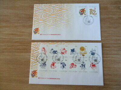Australia  2012  FDC Christmas Island Year of the Dragon mini sheet and set