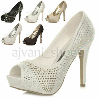 Womens Ladies Evening Wedding High Heel Platform Peeptoe Court Shoes Size