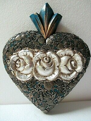 Mexican Folk Art Carved Wood Wall Rose Heart Milagro Prayer Charm Ex Voto 11""