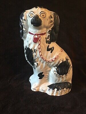 Large, Antique 19C English Staffordshire, Black & White Spaniel Dog