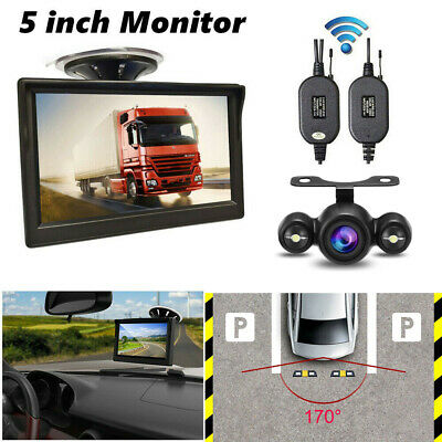 "5"" Wireless TFT LCD Monitor Car IR Rear View Parking Assist Backup Camera Kit"