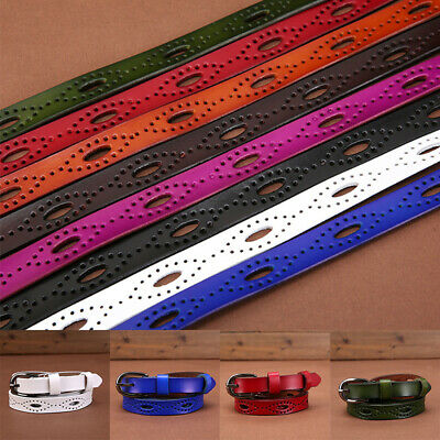Sweetness Women Leather Belts Thin Skinny Waistband Candy Color Adjustable Belt