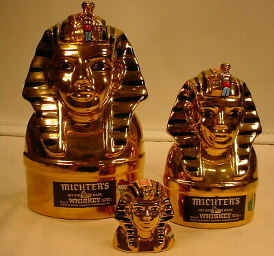 1978 Vintage  Lot Of  3 Michter's Whiskey King Tut Decanters *Empty