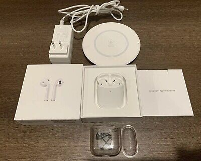 Apple AirPods 2nd Generation W/ Wireless Charging Case, Belkin Off-White Bundle