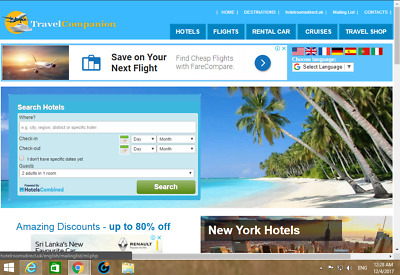 Best Travel and Hotel Affiliate Website 1001 Free- Installation+ cPanel  Hosting