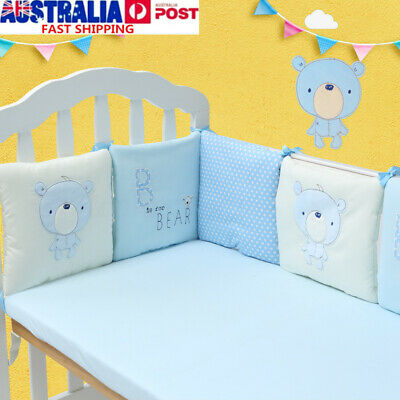 Baby Soft Crib Bumper Infant Toddler Cotton Bed Cot Protector Nursery Bedding AU