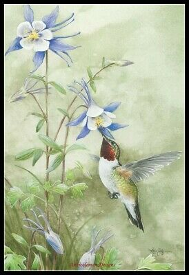 Ruby Hummingbird - Counted Cross Stitch Patterns Needlework for embroidery