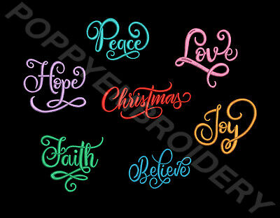 CHRISTMAS words Designs for Embroidery machine-MOTS NOEL motifs broderie machine
