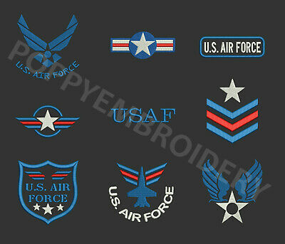 USAF AIR FORCE Designs for Embroidery machine- ARMEE air motifs broderie machine