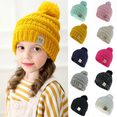 UK Newborn Toddler Baby Girls Boys Hats Warm Winter Knitted Wool Hemming Hat Cap