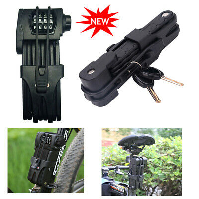 Heavy Duty Bicycle Security Password Keys Bike Folding Cable Lock Anti-theft NEW