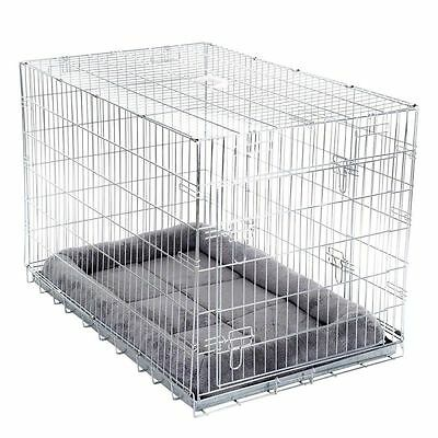 Dog Double Door Transport Cage with Cushion Zinc Plated Metal Secure in Car