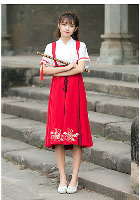 Chinese Ancient Traditional Hanfu CosplayWomen Fusion Modern Hanbok Strap Dress