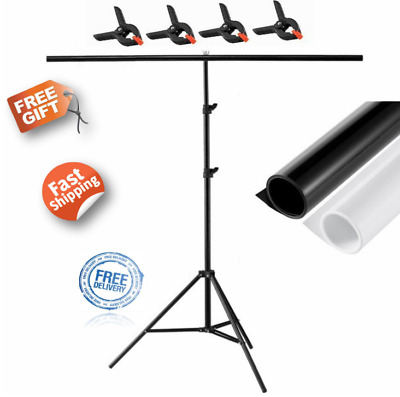 Backdrop T Stand Clamp PVC Matte Two Side Photography Pro Black white Background