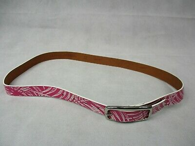 """Esprit Pink and White Leather Belt 36"""" 90cm Length"""