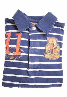 JOULES Boys Rugby Polo Shirt Long Sleeve 6-7 Years Blue Striped Cotton  CW20