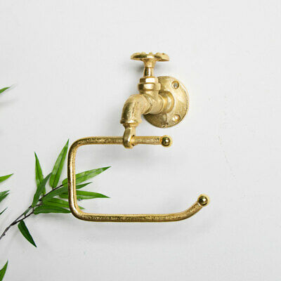 Gold metal toilet roll tissue holder retro industrial bathroom accessories