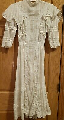 Antique Ivory Polka Dotted Early 1900s Study Repair Repurpose Flawed Dress