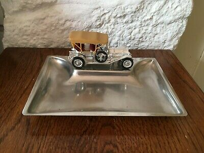 Vintage Car Chrome Desk Top Pin Tray, Nice Collectable Item