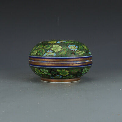 """5.1"""" Old China Porcelain ming chenghua mark colour enamels flower pattern Box"""