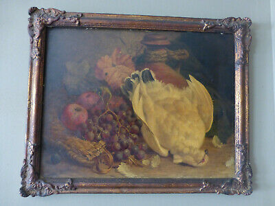 William Hughes 1867,oil still life s.XIX,white dove with grapes
