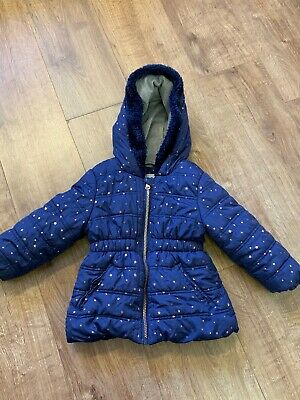 Navy and Gold Star padded warm girls coat age 3-4 Years Nutmeg winter fur trim