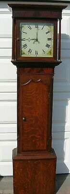 Oak and Mahogany Cased Cottage Grandfather Clock.