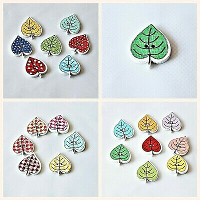 Novelty Wooden  Leaf Buttons, Pack of 50