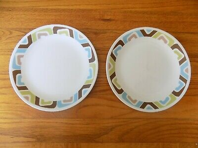 """PAIR Corelle  """"SQUARED""""  Pattern --  8 1/2""""  Lunch Luncheon Salad (2) Plates"""