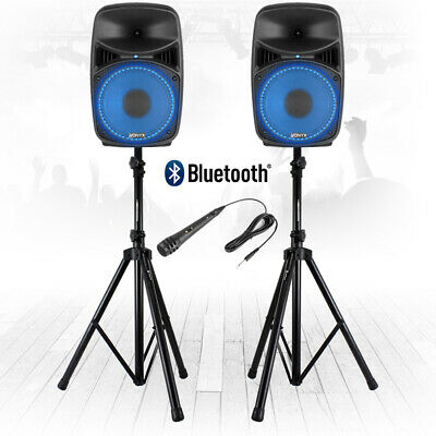 """Vonyx VPS082A 8"""" Active Bluetooth Disco Speakers DJ PA System 400W with Stands"""