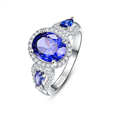 Fashion Women Silver Engagement Ring Oval Cut Blue Sapphire Ring Size 7