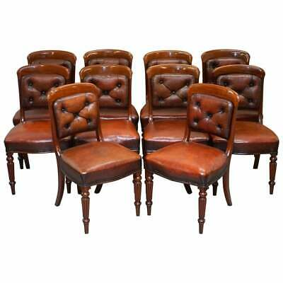 Set Of 10 Gillows Of Lancaster Regency Dining Chairs Brown Chesterfield Leather