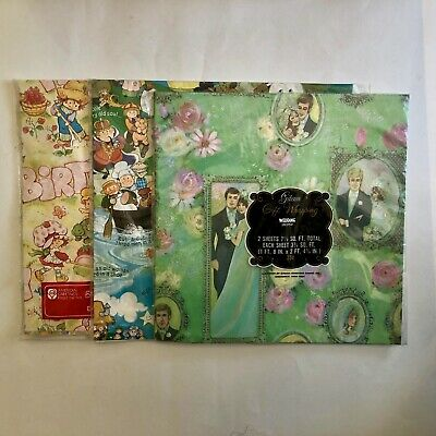 3 Packs of Vintage Wrapping Paper - Wedding, Birthday, All Occasion - NEW As Is