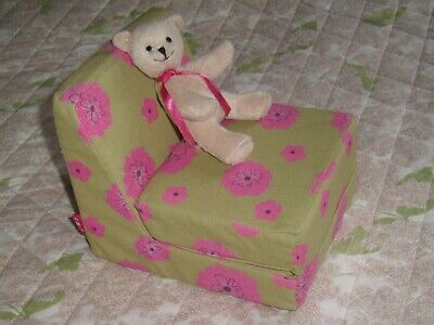 American Girl 2012 Bitty Bear Teddy & AG pink florals stuffed chair lounge bed