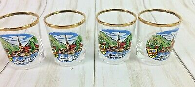 4 Vintage German Shot Glass SOUVENIR Rottach-Egern Gold Rim