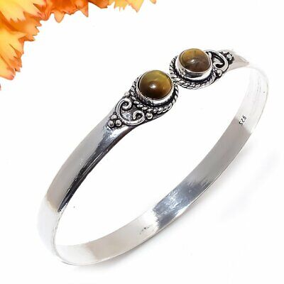 Tiger'S Eye Gemstone 925 Sterling Silver Jewelry Cuff Bracelet Adst. 3251