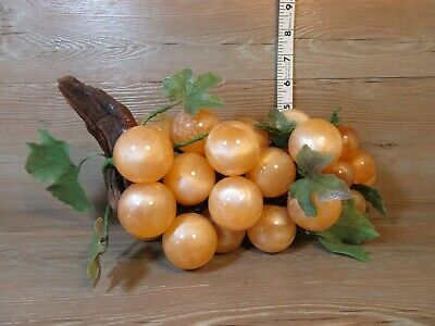 """Vintage Mid Century Large Lucite Acrylic Swirl Amber Grapes on Driftwood 11"""""""