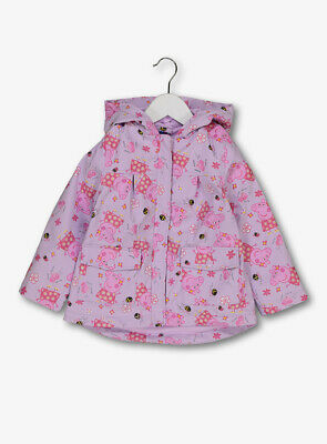Gorgeous Girls Pink Peppa Pig Fleece Lined Rain Coat Mac  12 Mths To 5 Years