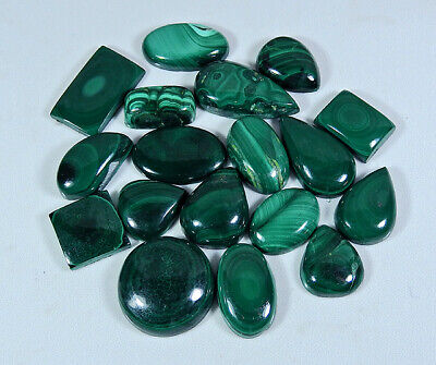 Natural Green Malachite Mix Cabochon Loose Gemstone Lot 18Pcs 206Cts