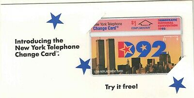 Nynex 1992 1$ Complimentary Democratic Convention Phone Card  with Folder Mint
