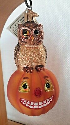 Old World Christmas Halloween Glass Ornament Owl & Pumpkin Merck Owc Nwt 2001