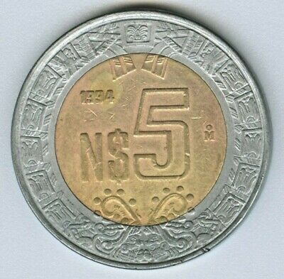 Mexico  -  1994  Mexican 5 Neuvo Pesos Coin Money