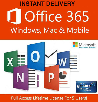 Microsoft Office 365 2019 Pro Plus pour 5 PC OneDrive 1 TB INSTANT DELIVERY